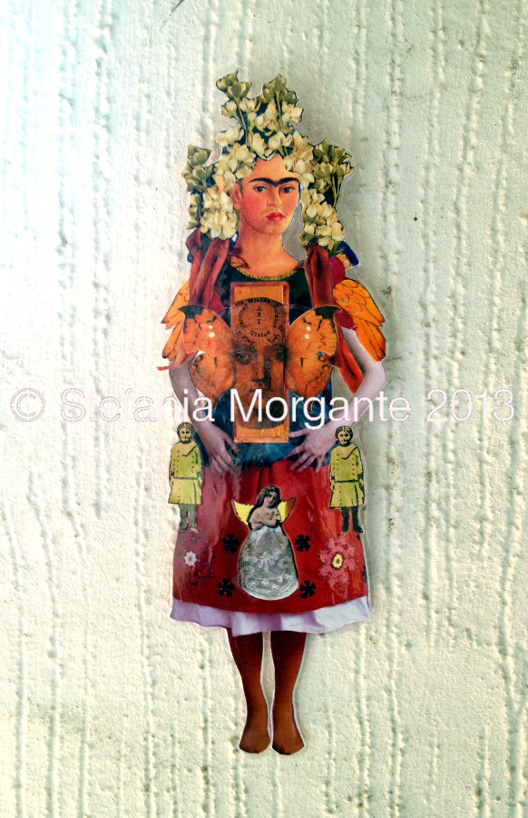 Frida kahlo paper doll collage